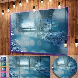 Designart 'Beautiful Winter River View' Oversized Landscape Photography on Aluminium