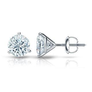 Auriya GIA Certified 14k White Gold 3-Prong Martini 2.00 ct. TDW (E-F, VVS1-VVS2) Screw Back Round Diamond Stud Earrings