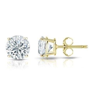 Auriya 18k Gold GIA Certified 1 carat TW Round Diamond Stud Earrings