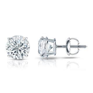 Auriya GIA Certified Platinum 4-Prong Basket 2.00 ct. TDW (I-J, I1-I2) Screw Back Round Diamond Stud Earrings