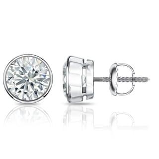 Auriya GIA Certified 18k White Gold Bezel Setting 1.70 ct. TDW (I-J, VVS1-VVS2) Screw Back Round Diamond Stud Earrings