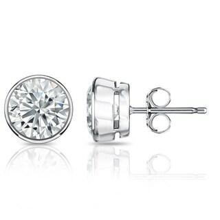 Auriya GIA Certified 18k White Gold Bezel Setting 1.70 ct. TDW (I-J, VVS1-VVS2) Push Back Round Diamond Stud Earrings