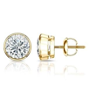 Auriya GIA Certified 18k Yellow Gold Bezel Setting 1.50 ct. TDW (I-J, VVS1-VVS2) Screw Back Round Diamond Stud Earrings