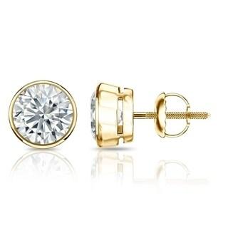 Auriya GIA Certified 18k White Gold Bezel Setting 1.20 ct. TDW (I-J, VVS1-VVS2) Screw Back Round Diamond Stud Earrings