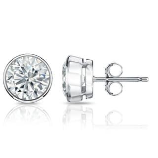 Auriya GIA Certified 18k White Gold Bezel Setting 1.00 ct. TDW (I-J, VVS1-VVS2) Push Back Round Diamond Stud Earrings
