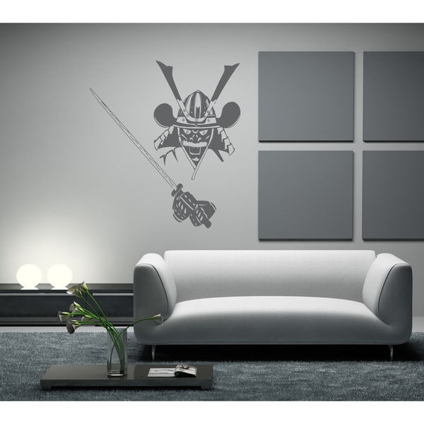 Samurai Decal Vinyl Stickers Decals Wall Vinyl Decal Samurai Decor Sticker  Decall Size 44x60 Color Black