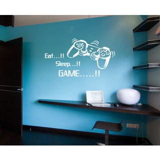Eat Sleep Game Kids Room Children Stylish Wall Art Sticker Decal Size 22x30 Color White