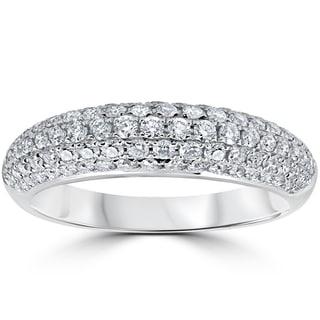 18k White Gold 1 ct TDW Diamond Micro Pave Wedding Ring