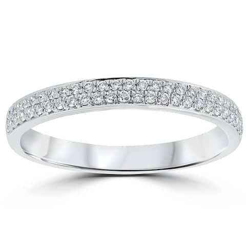 18k White Gold 1/4 ct TDW Diamond Micro Pave Wedding Ring