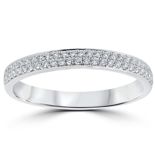 18k White Gold 1/4 ct TDW Diamond Micro Pave Wedding Ring (F-G,VS1-VS2)