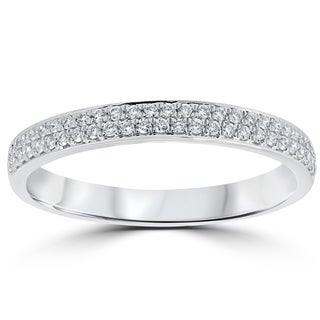 18k White Gold 1/4 ct TDW Diamond Micro Pave Wedding Ring