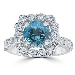 14k White Gold 2 1/2 ct TW Cushion Halo Blue Topaz Diamond Anniversary Engagement Ring (G-H,I1-I2)