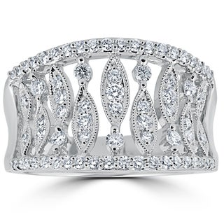18k White Gold 3/4 ct TDW Diamond Pave Multi Row Right Hand Knuckle Anniversary Ring