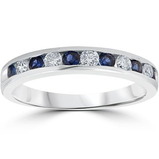 14K White Gold 1/2 ct TW Blue Sapphire & Diamond Channel Set Wedding Stackable Ring