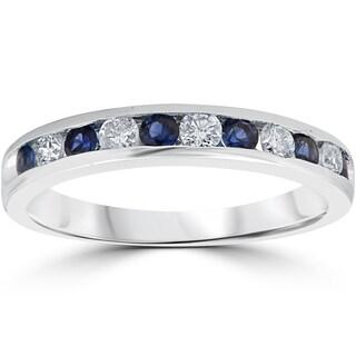 14K White Gold 1/2 ct TW Blue Sapphire & Diamond Channel Set Wedding Stackable Ring (I-J, I2-I3)