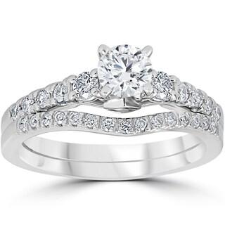 14K White Gold 1 1/10 cttw Diamond 3-Stone Engagement Matching Wedding Ring Set (I-J, I2-I3)