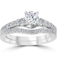 14K White Gold 1 1/10 cttw Diamond 3-Stone Engagement Matching Wedding Ring Set