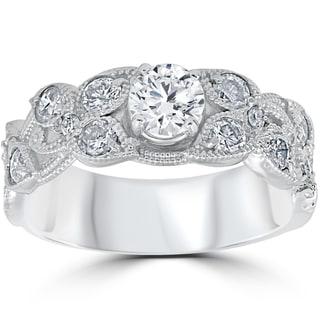 14K White Gold 2 ct TDW Vintage Floral Leaf Petal Style Engagement Ring