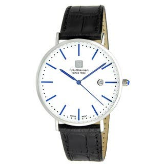 "Steinhausen Men's S0520 Classic Burgdorf Swiss Quartz ""Blue Label"" Watch With Black Leather Band