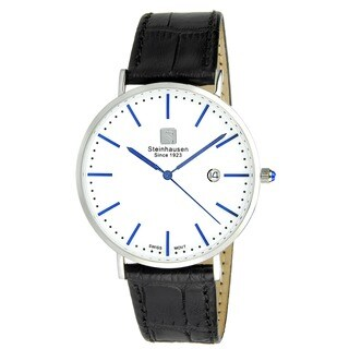 "Steinhausen Men's S0520 Classic Burgdorf Swiss Quartz ""Blue Label"" Watch With Black Leather Band"