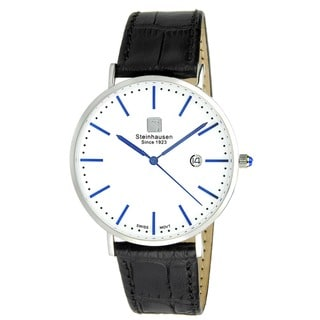 """Link to Steinhausen Men's S0520 Classic Burgdorf Swiss Quartz """"Blue Label"""" Watch with Black Leather Band Similar Items in Men's Watches"""