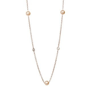 "Suzy Levian Rosed Sterling Silver White Sapphire and Pearl By-the-Yard 26"" Station Necklace"