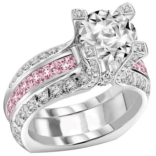 14k White Gold Fancy Pink Sapphire Split Shank 2 1/2 TDW Diamond Bridal Set (F-G, VS1-VS2)