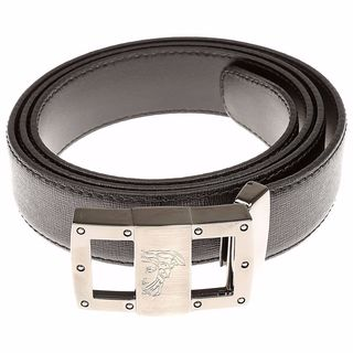 Versace Collection Black Saffiano Leather Belt