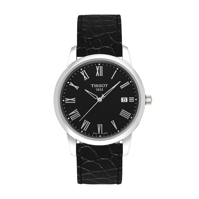 Tissot Men's Swiss Classic Dream Black Leather Strap Watch 38mm T0334101605301