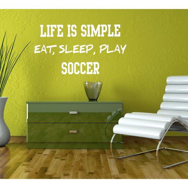 Eat Sleep Play Soccer Kids Room Children Stylish Wall Art Sticker ...