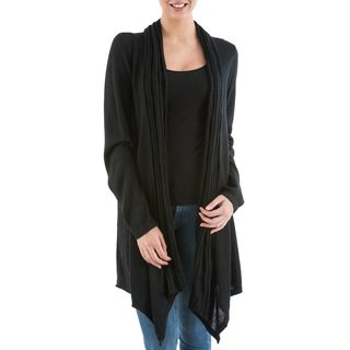 Handcrafted Acrylic Alpaca Blend 'Black Waterfall Dream' Cardigan Sweater (Peru)
