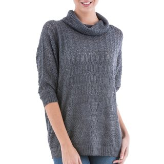 Handcrafted Acrylic Alpaca Blend 'Evening Flight in Grey' Pullover Sweater (Peru)