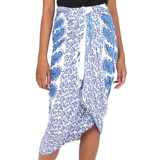 Handcrafted Rayon 'Cerulean Sunshine' Batik Sarong (Indonesia)