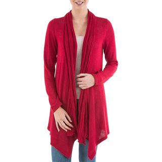 Handmade Acrylic Alpaca Blend 'Red Waterfall Dream' Cardigan Sweater (Peru)