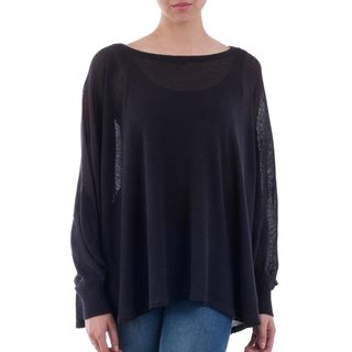 Handmade Acrylic Cotton Blend 'Night Breeze' Sweater (Peru)