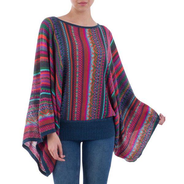 Handmade Acrylic Alpaca Blend 'Fiesta of Color' Sweater (Peru)