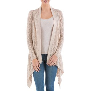 Handmade Acrylic Alpaca Blend 'Beige Mirage' Cardigan Sweater (Peru) (2 options available)