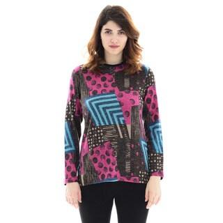 Trisha Tyler Women's Geometric Multicolor Polyester/Rayon Long-sleeve Mock Neck Sweater