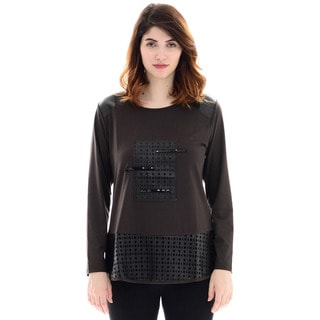 Trisha Tyler Women's Brown Long-sleeve Patch Front Knit Top