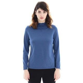 Trisha Tyler Solid Long-sleeve Gather Mock-neck Sweater