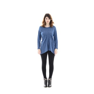 Trisha Tyler Women's Blue Polyester and Rayon Long-sleeve Tucked Front Tunic