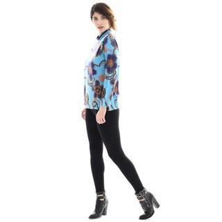 Trisha Tyler Women's Floral-print Long-sleeve Mock-neck Sweater