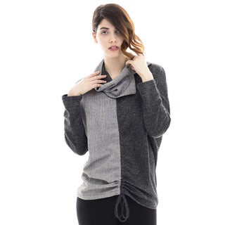 Trisha Tyler Women's Grey Polyester Detachable Cowl Neck Long-sleeve Tunic