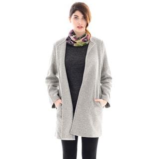 Trisha Tyler Women's Grey Knit Fleece Long-sleeve Topper