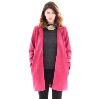 Trisha Tyler Women's Pink Polyester Knit Fleece Long-sleeve Topper