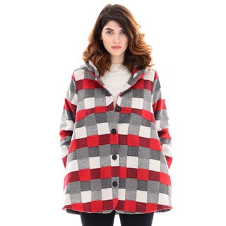 Trisha Tyler Women's Grey Plaid Polyester-blend Long-sleeve Gather Collar Coat