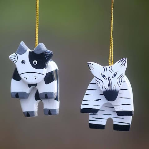 Set of 2 Handmade Albesia Wood 'Zebra and Cow' Ornaments (Indonesia)