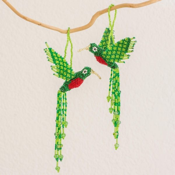 Set of 2 Handcrafted Glass 'Radiant Quetzal' Beaded Ornaments (Guatemala)