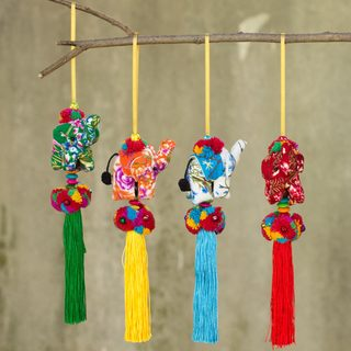 Set of 4 Handmade Cotton 'Happy Lanna Elephants' Ornaments (Thailand)