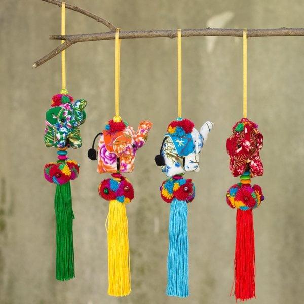 Set of 4 Handmade Cotton 'Happy Lanna Elephants' Ornaments (Thailand)